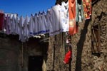Little girl and clothes drying